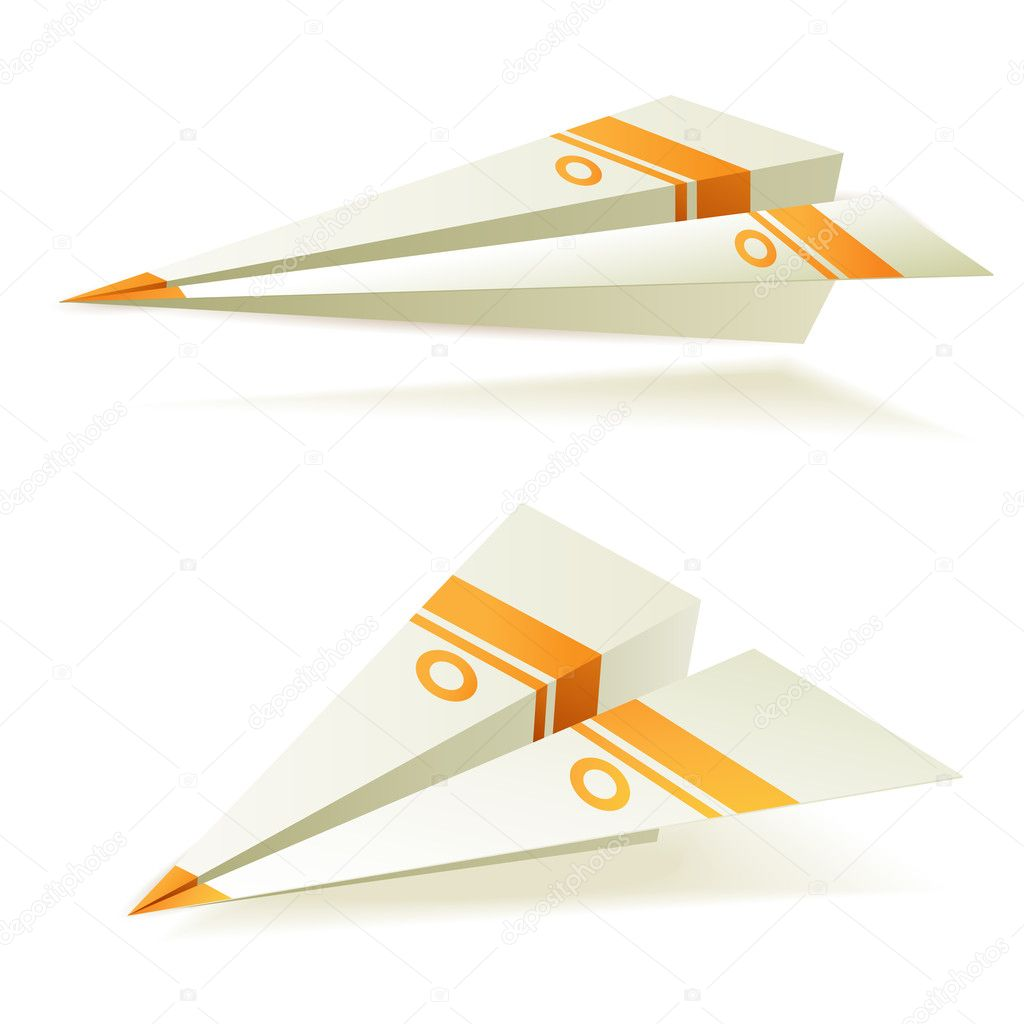 Origami planes with orange stripes  Stock Vector #6869769