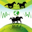 Running horses — Vector de stock #7299748