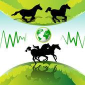 бегущие кони — Cтоковый вектор