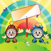 Happy cartoon clocks — Stock Vector