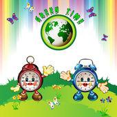 Eco Earth with cartoon clocks — Stock Vector