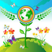Eco Earth flowers — Stock Vector