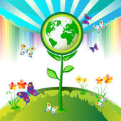 Eco Earth flowers — Vetor de Stock