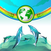 Diving dolphin with Green Earth — Stock Vector