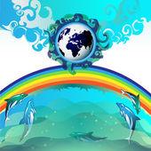 Mavi dünya ile dalış dolphin — Stok Vektör
