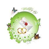 Cartão de casamento — Vetor de Stock