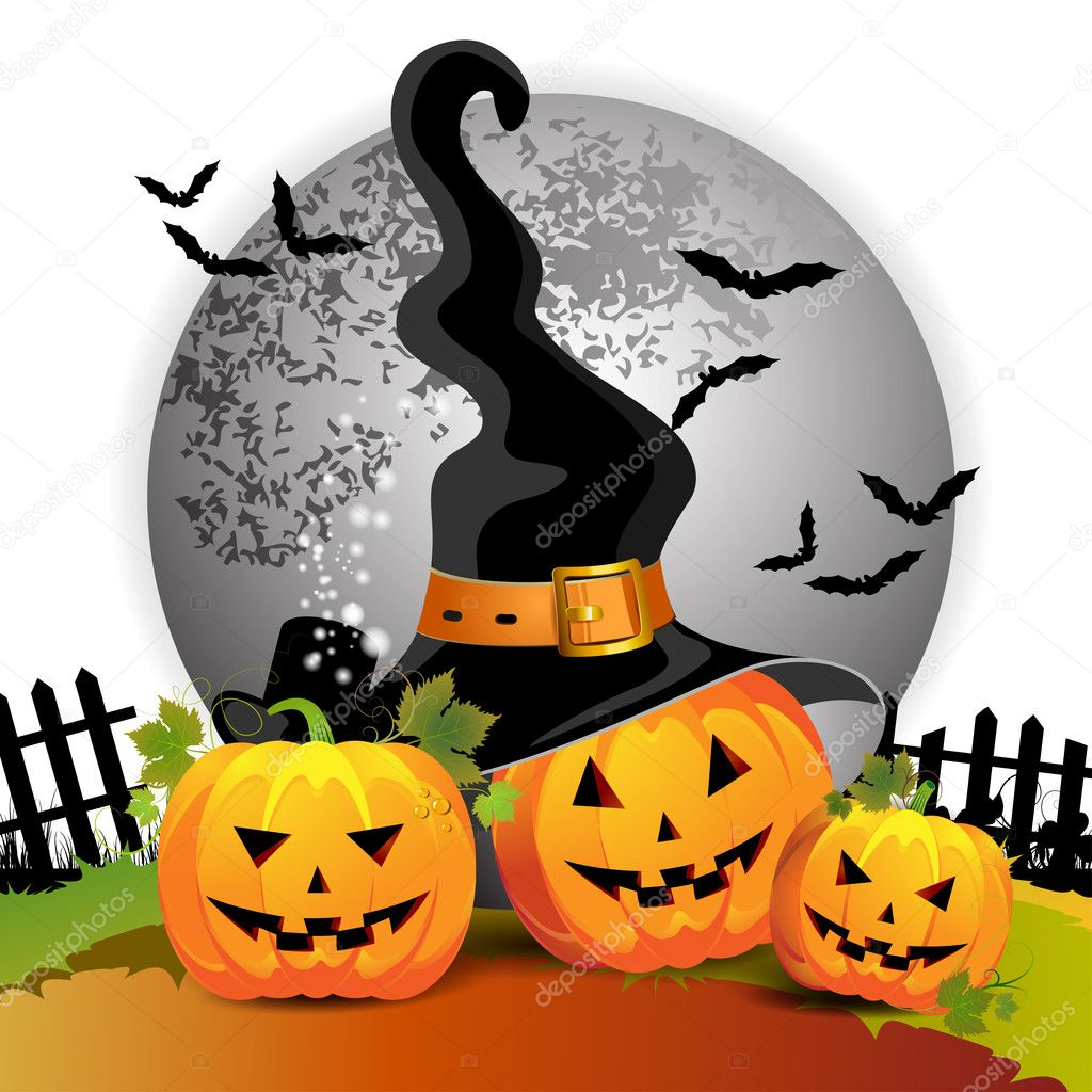 Halloween pumpkin with witches hat — Stock Vector #7346616