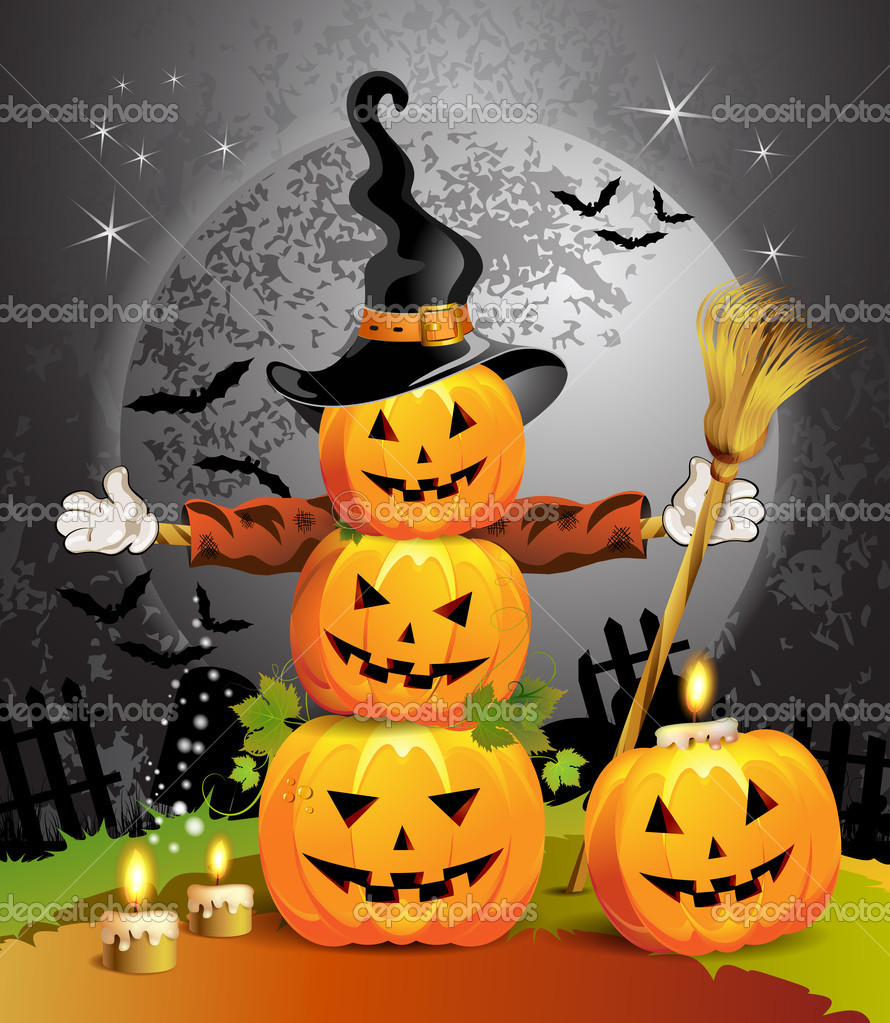 Halloween pumpkin with witches hat  Stock Vector #7346635