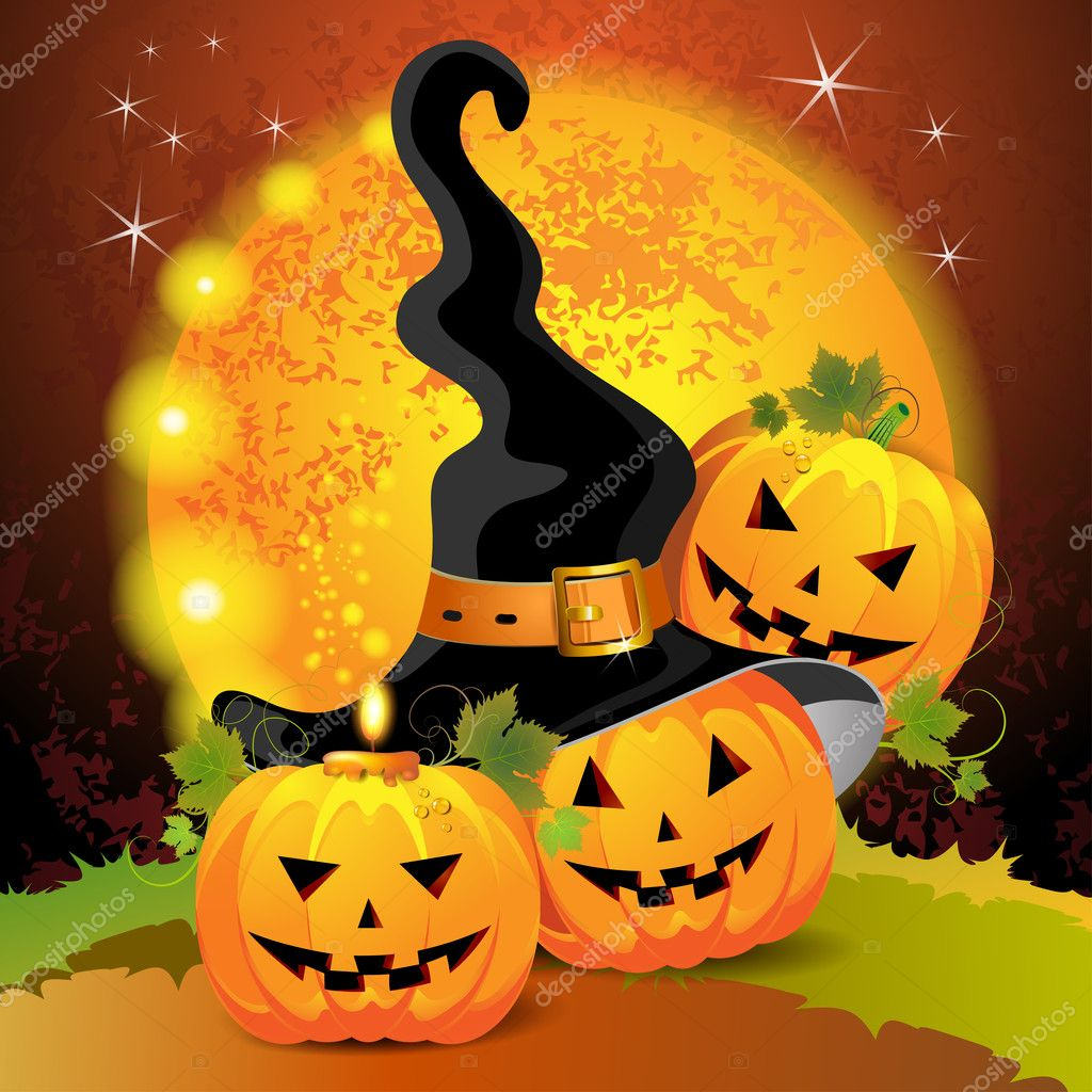 Halloween pumpkin with witches hat  — Stock Vector #7346637