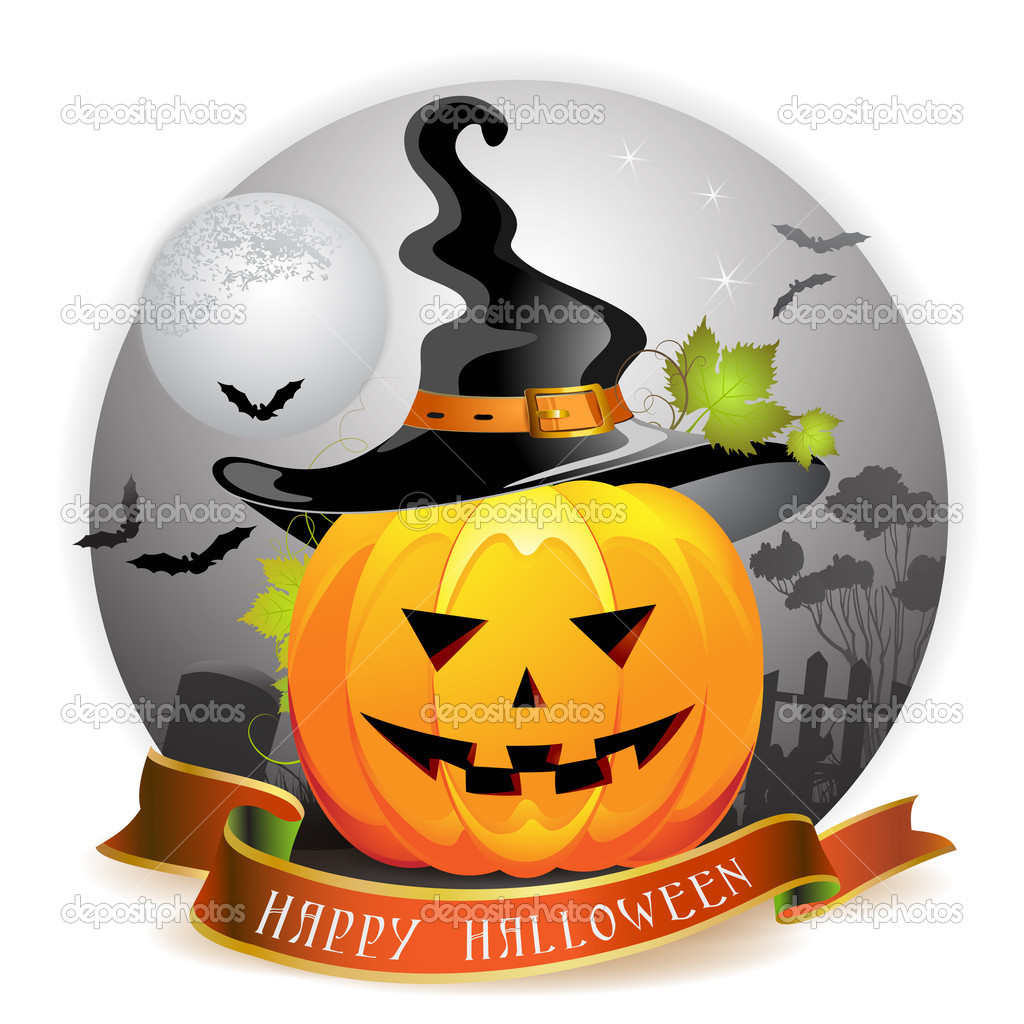 Halloween pumpkin with witches hat — Stock Vector #7349487