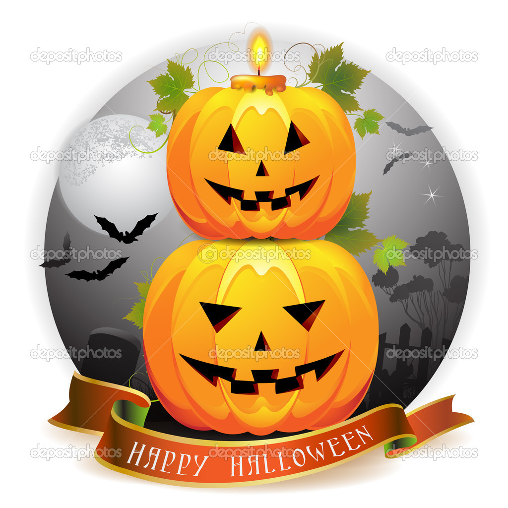 Halloween pumpkin with candle — Stock Vector #7349509