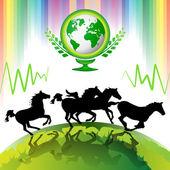 Course de chevaux — Vecteur