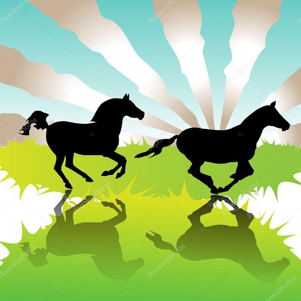 Running Horse Herd Silhouette Running horses - stock vector