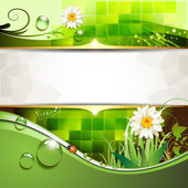 Green background with daisy — Stock Vector