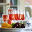 A photo of A glass of rosy wine - Stock Photo