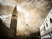 San-Marco. Retro postcard — Stock Photo