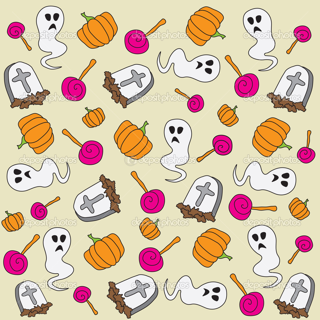 Cartoon Halloween pattern, vector  Stock Vector #7327517