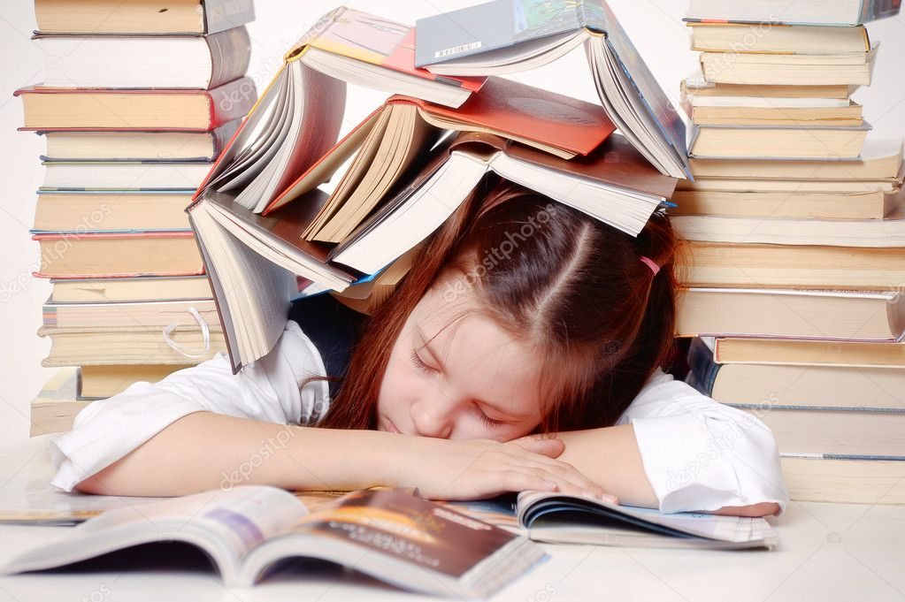 Girl student with books  — Stock Photo #6838298