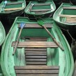 Stock Photo: A lot of green boat