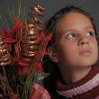 Girl with Christmas flowers — Stock Photo #6939376