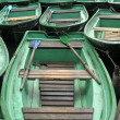 A lot of green boat — Stock Photo #6960366