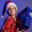 Girl happy New Year gifts — Stock Photo