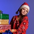 Girl happy New Year gifts — Lizenzfreies Foto