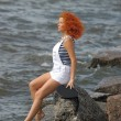 Foto de Stock  : Red haired sailor girl