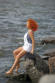 Red haired sailor girl — Stock Photo