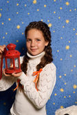 Girl with Christmas lantern — Stock Photo