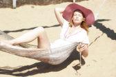 Girl in a hammock — Stock Photo