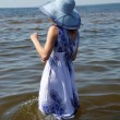 Young fashion woman on the beach — Stock Photo #7314351