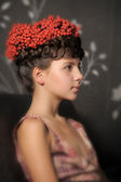 Teen girl with bunches in her hair ash — Stock Photo