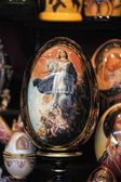 Wooden easter egg with painted our lady — Stockfoto