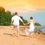 Young romantic pair walks — Stock Photo