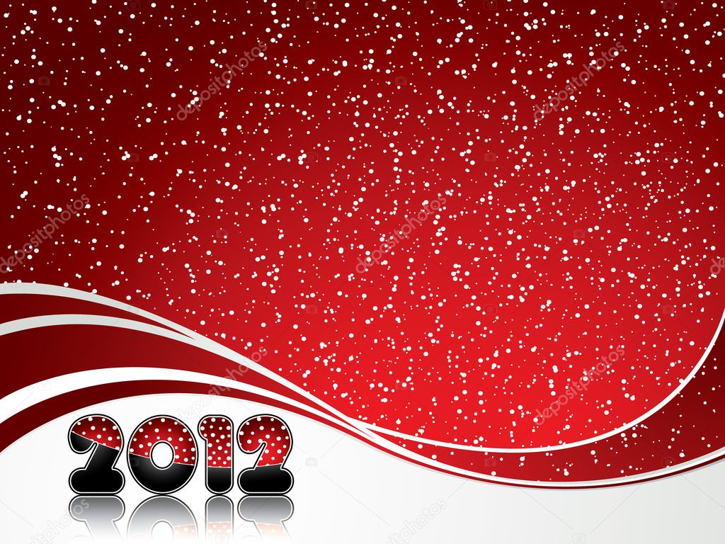Red abstract Happy New Year 2012 background — ベクター素材ストック #6857105