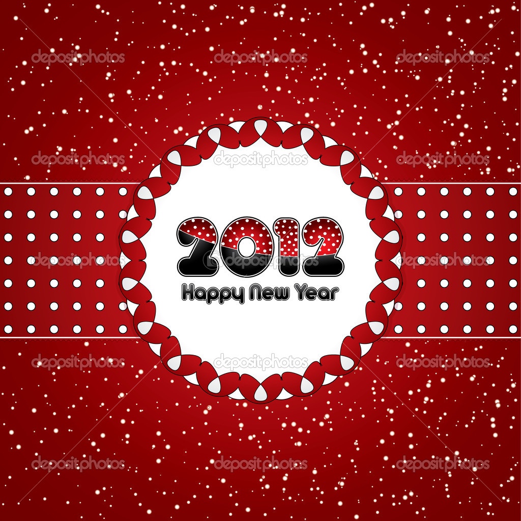 Red abstract Happy New Year 2012 background — Stock Vector #7716173