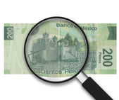 Magnifying Glass - 200 Pesos - Back Side — Stock Photo