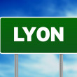 Green Road Sign - Lyon, France — Stock Photo