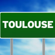 Green Road Sign -  Toulouse, France - Stock Photo