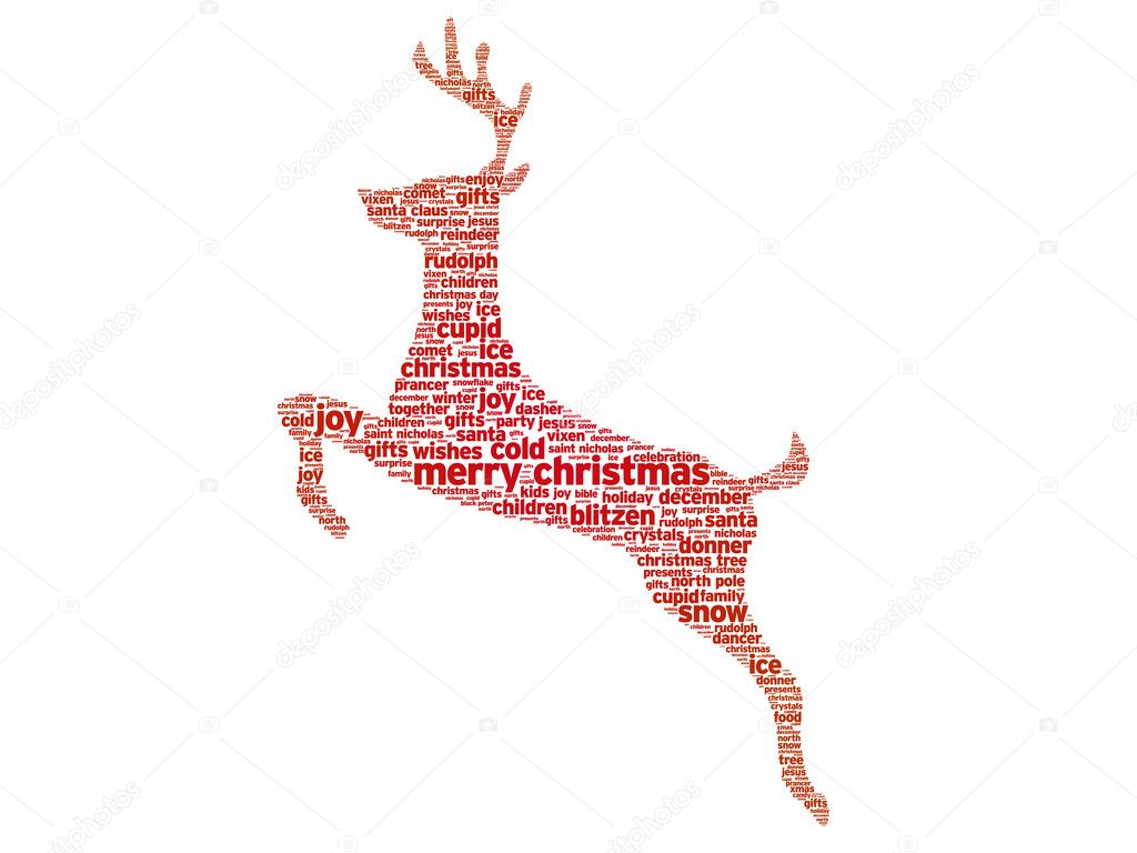 Reindeer christmas word illustration on white background. — Stock Vector #6985469