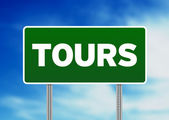 Green Road Sign - Tours, France — Stock Photo
