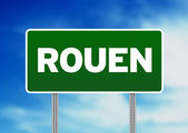 Green Road Sign - Rouen, France — Stock Photo