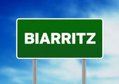 Green Road Sign - Biarritz, France — Stock Photo