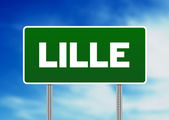 Green Road Sign - Lille, France — Stock Photo