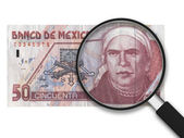 Magnifying Glass - 50 Mexican Pesos - Front Side — Stock Photo