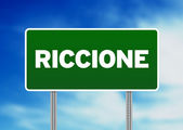 Green Road Sign - Riccione, Italy — Stock Photo