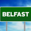Stock Photo: Green Road Sign - Belfast, England
