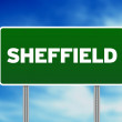 Green Road Sign -  Sheffield, England - Stock Photo