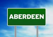 Green Road Sign - Aberdeen, England — Stock Photo